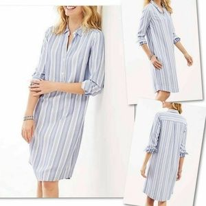 J.Jill Blue White Stripe Long Sleeve Shirt Dress